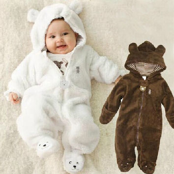 Autumn Winter  Baby Rompers Bear style baby coral fleece  brand  Hoodies Jumpsuit baby girls boys romper newborn toddle clothing