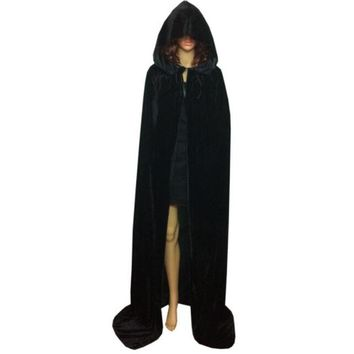 Unisex Halloween Hooded Cloak Solid Color Coat Magic Wicca Medieval Cape Cosplay Coat Party Scary Cosplay Costumes