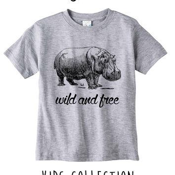 Hippo Wild And Free Heather Grey / White Toddler Kids T Shirt Clothes Gift
