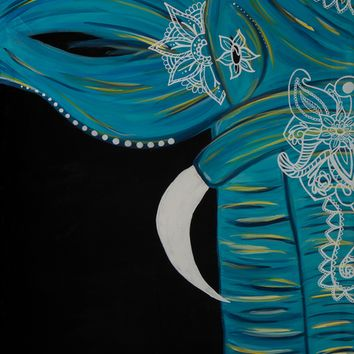 Hand Painted Bohemian Elephant (Turquoise) 24X30 Canvas