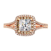 Brown & White Diamond Double Halo Semi-Mount Ring 14K