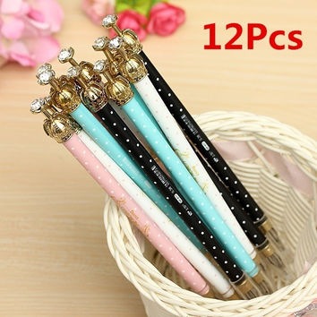 12Pcs Colourful Crown Black Ink Elegant Cute Pearl Gel Pen Office Supply Gift = 1958353796