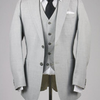 Vintage 80s Gray 3 Piece Indie Vested Suits 38 R