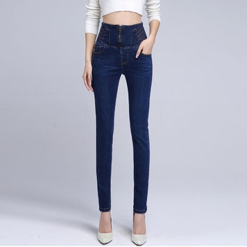 Women's high waist skinny jeans Female casual slim denim pencil pants Plus size long trousers