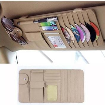 Beige or Black New Car Interior Sun Visor Multifunction Leather DVD Case CD Folder Pocket