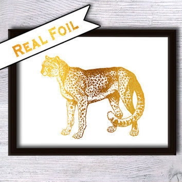 Cheetah gold foil poster Gold foil print Cheetah real foil print Animal art print Home decoration Kids room decor Nursery room wall art G28