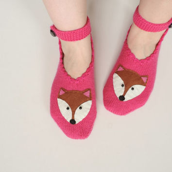 Woman Slippers Pink, Hand Knit Turkish Slippers, Turkish Socks, Fox Knitted Slippers