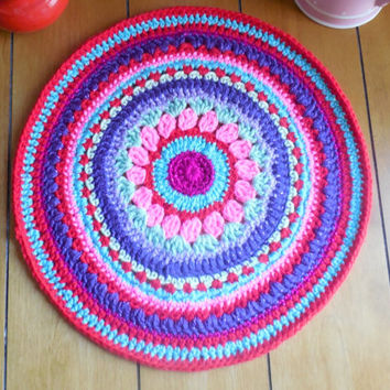 Crochet Doily Mandala, Table Mat, Fiber Art Home Decor, 14.5 inch round table runner