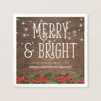 Rustic Country Merry & Bright Christmas Paper Napkin