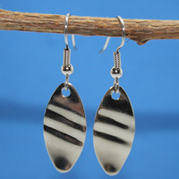 Simple Shape Earrings Stainless Steel NOS Fish Lure Fob on Earwires