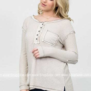 Cecily Thermal Elbow Top   Ivory