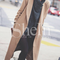 Camel Lapel Pockets Coat -SheIn(Sheinside)