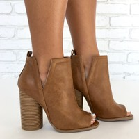 Giselle Peep Toe Booties in Tan