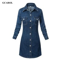 GCAROL Women New Arrival Single-Breasted Button Denim Dress Fashion Slim Jeans Dress Two Pockets Plus Size XL Sexy Dress