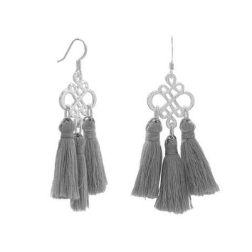 Gray or Burgundy Threaded Tassel Earrings