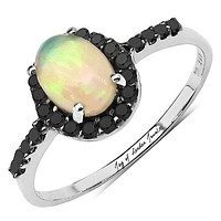 A Perfect .75CT Genuine Ethiopian Opal & Black Diamond Halo Ring