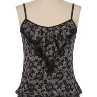 Lace Print Ruffle Front Cami