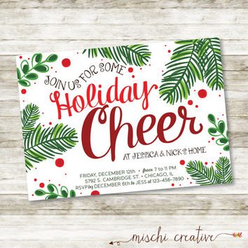 "Join us for some Holiday Cheer, Jolly Holiday Christmas Party Digital Printable Invitation - Reds and Greens - 5"" x 7"""