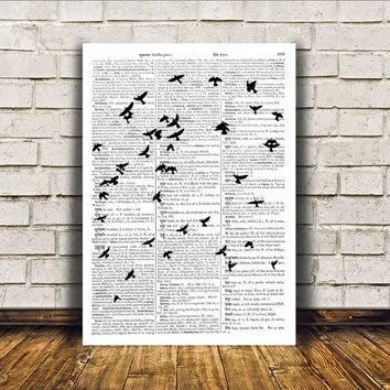 Bird flock poster Wall decor Dictionary print Bird art RTA108
