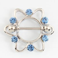 Retail 2 pieces/lot Nipple ring Nickel-free Blue Rhinestone Flower body Piercing jewelry 14G 316L surgical steel bar TAIERS