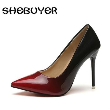 Spring Autumn High Heels Shoes Woman Elegant Thin High Heels Pointed Toe Gradient Color Women's Pumps for Party Plus Size 35-42