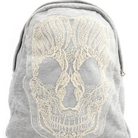 Embroidered Skull Fabric Backpack: Charlotte Russe