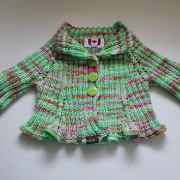 Handmade Knit Stretchy Super wash merino soft baby cardigan sweater // Ready to be shipped TODAY