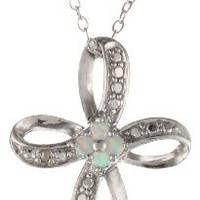 Sterling Silver Diamond-Accent Created-Opal Ribbon Cross Pendant Necklace with Rolo Chain, 18""