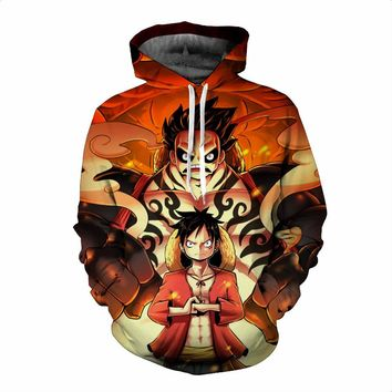 One Piece 3D Luffy Fashion Anime Hoodie