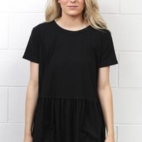 Cutest Suedette Relaxed Peplum Ever {Black}
