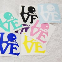 2.5x3 Small Inch Ping Pong Love Paddle Graphic Permanent Vinyl Decal/Bumper Sticker