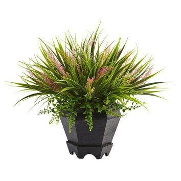 Silk Flowers -Grass With Planter Artificial Plant