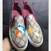 Gucci Fashion Casual Women Men Flowers Design Loafer Shoes Flat Shoes Print G