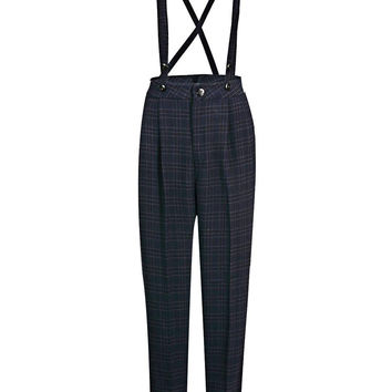 Navy Blue Suspender Pants in Check