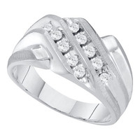 Diamond Cluster Mens Ring in 14k White Gold 0.35 ctw