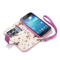 Samsung i9190 Galaxy S4 Mini Premium Faux Leather Wallet Case (Pink with Floral Interior)