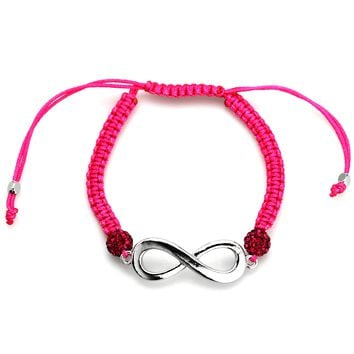 2 Pink Crystal on Cord Adjustable Bracelet with Infinity Sign