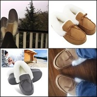 Women's Faux Fur Lined Suede House Slippers, Indoor Outdoor Moccasins Brown New