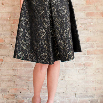 Arista Brocade Skirt - Black
