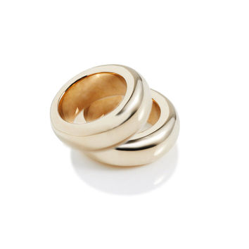 High Shine Brass Donut Ring Set