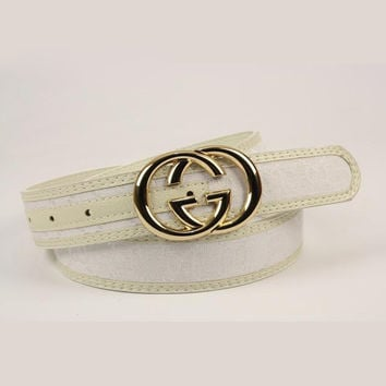 GUCCI Men Woman Fashion Smooth Buckle Belt Leather Belt