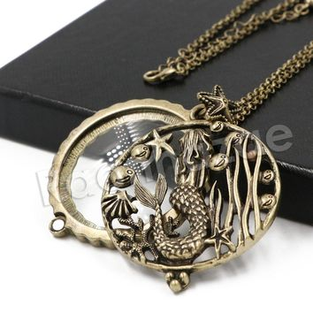 Antique Vintage Design Starry Mermaid 5x Magnifying Glass Locket Pendant Necklace