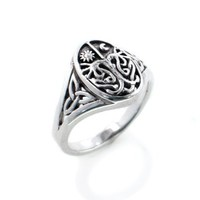 Celtic Trinity Knot Tree of Life with Sun and Moon Sterling Silver Ring Size 8(Sizes 3,4,5,6,7,8,9,10)
