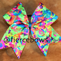 Neon Swirls on Lime Cheer Bow