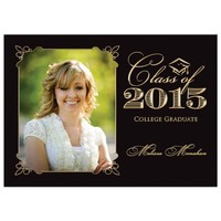 Graduation Party Invitation | Black and Gold | Photo Template