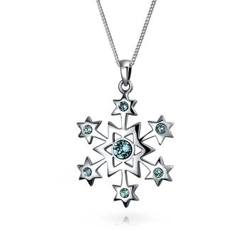 Snowflake Star Pendant Necklace Winter Blue Topaz 925 Sterling Silver