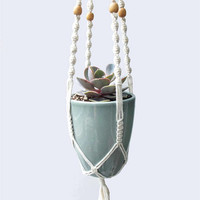 Macrame Plant Hanger, Size Small - Beige Beads, Cotton Cord, 27 inches/69 cm's long