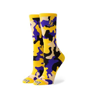 STANCE WOMENS LAKERS CREW SOCKS MEDIUM