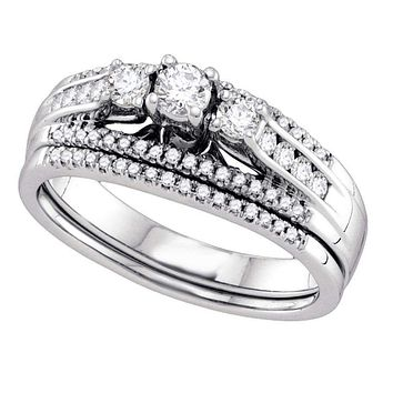 14k White Gold Women's Round 3-stone Diamond Wedding Bridal Engagement Ring Band Set 1/2 Cttw - FREE Shipping (US/CAN)