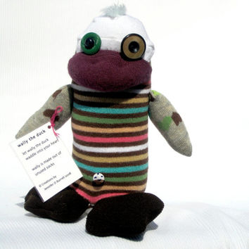 Plush Duck  Sock Toy - Handmade Collectible Stuffed Animal  - Striped OOAK Recycled Reclaimed Upcycled
